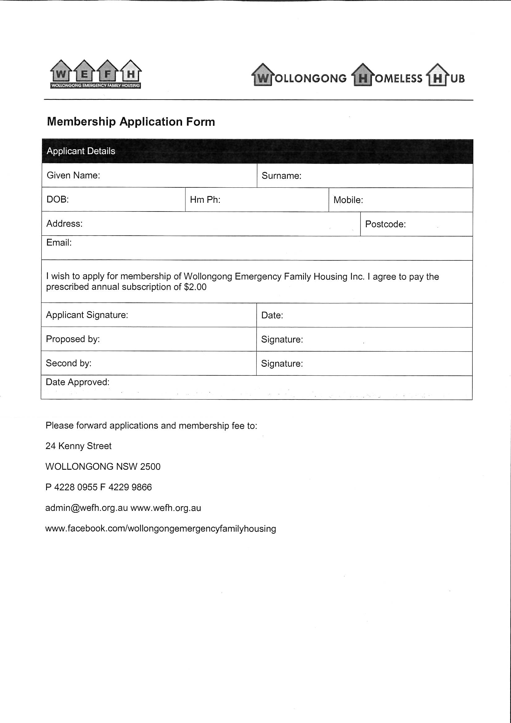 Wollongong emergency family housing archives wollongong emergency membership form falaconquin